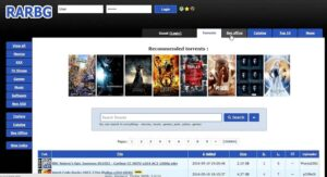 RARBG home page with torrent files