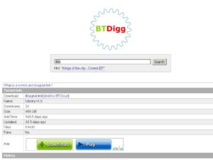 Btdigg home page with torrent files