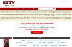 ETTVTorrents home page with torrent files