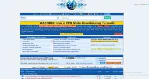 EZTV home page with torrent files