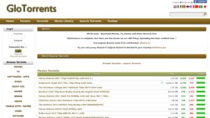 GioTorrents home page with torrent files
