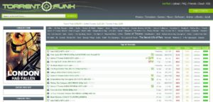 Torrentfunk home page with torrent files