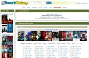 TorrentGalaxy home page with torrent files