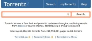 Torrentzr search engine home page