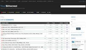 YourBittorrents home page with torrent files